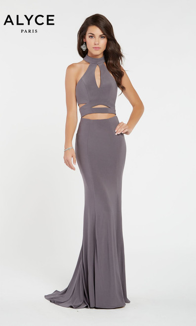 Alyce Paris 60283 Halter Straight Racer Back Long Dress