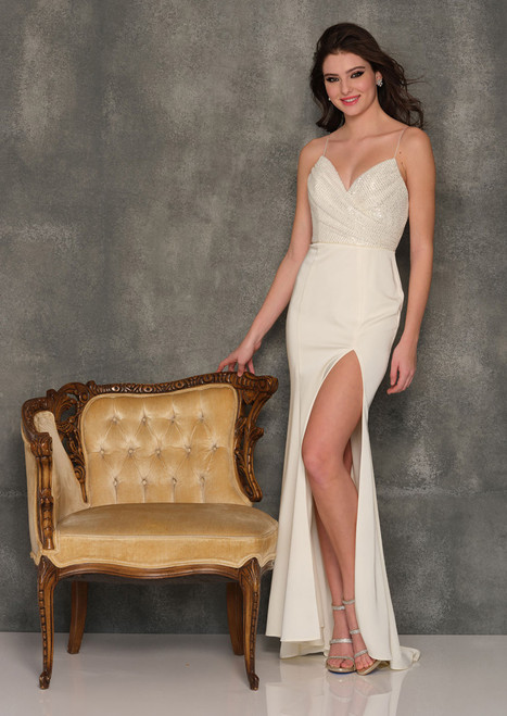 Dave & Johnny A8855 A-Line Sequin Long Gown