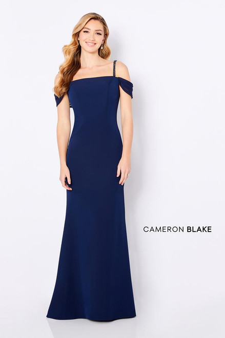 Cameron Blake by Mon Cheri 221692 Beaded Cold-shoulder Gown
