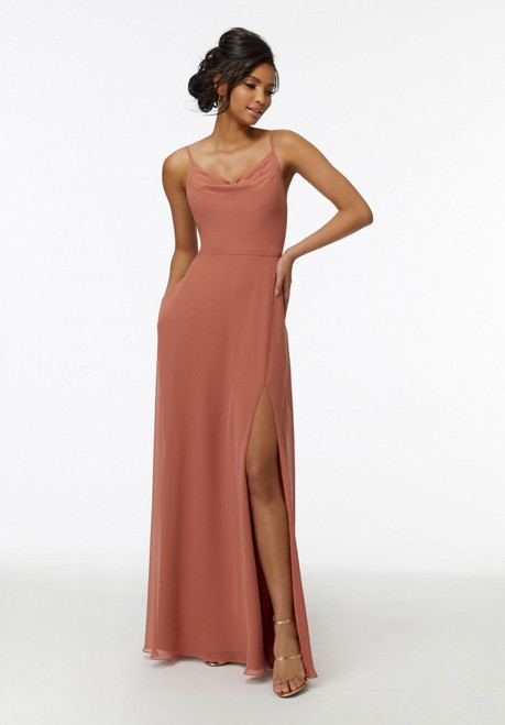 Morilee Bridesmaids 21732 Draped Cowl Neck Chiffon Dress