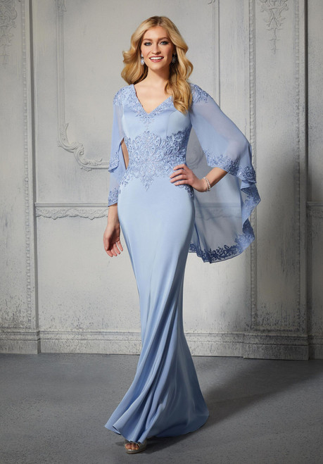 Morilee MGNY 72401 Chiffon Capelet Sheath Evening Gown