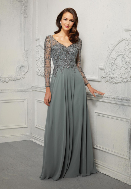Morilee MGNY 72403 Crystal Beaded Net Chiffon Evening Gown