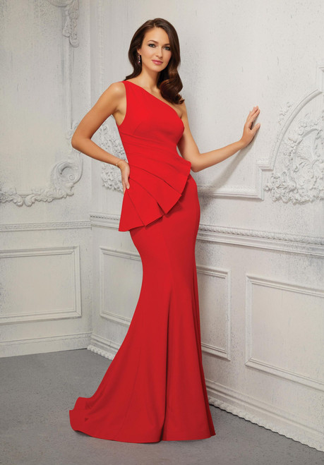 Morilee MGNY 72407 Stylish One-shoulder Crepe Evening Gown