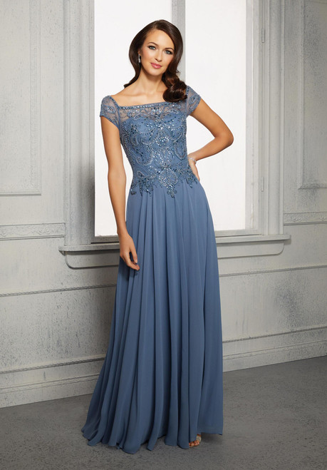 Morilee MGNY 72419 Cap Sleeves A-Line Chiffon Evening Gown