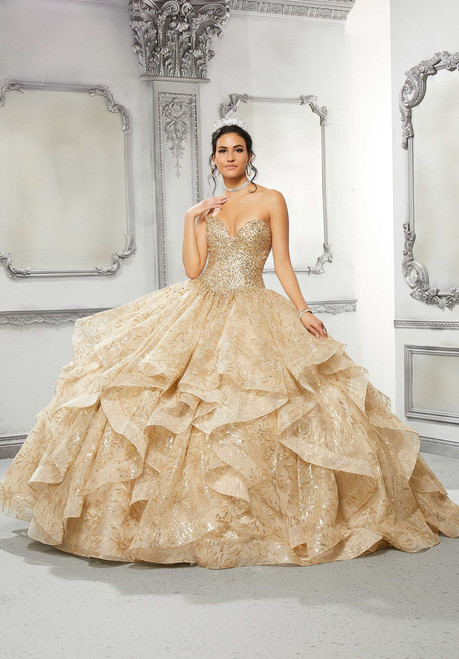 Morilee 89312 Crystal Beaded Tulle Quinceanera Ball Gown