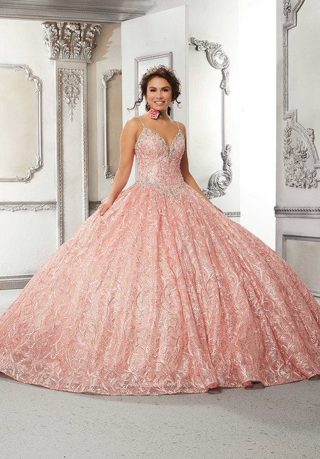 Morilee 89319 Rhinestone and Sequined Lace Quinceanera Dress