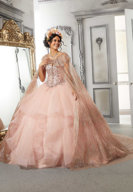 Morilee 89326 Patterned Ruffles Glitter Cape Quinceanera Dress