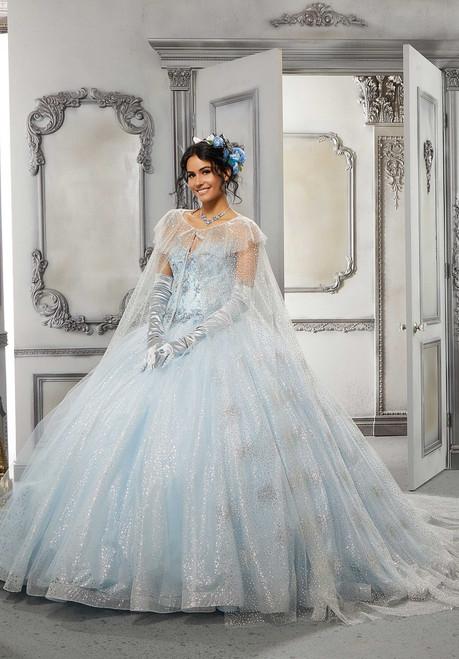 Morilee 89327 Patterned Glitter Net Cape Long Quinceanera Dress