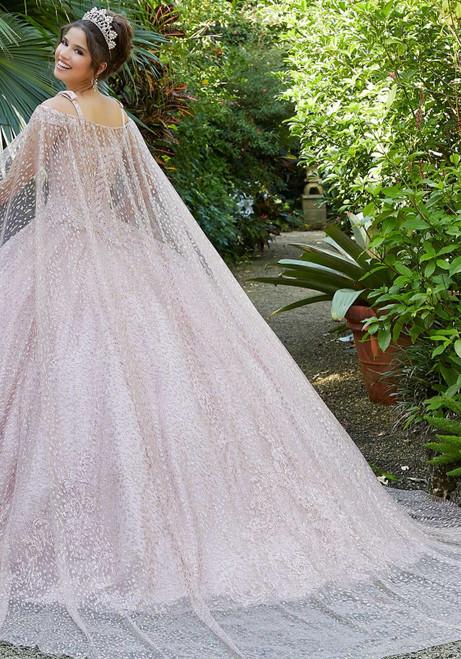 Morilee 89299 Patterned Glitter Net Cape Long Quinceanera Dress