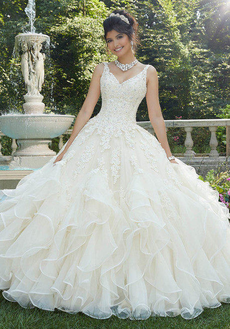 Morilee 89262 Beaded Lace Tulle Flouncy Quinceanera Ballgown
