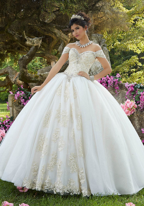 Morilee 89263 Embroidered Glitter Tulle Bodice Quinceanera Gown