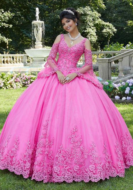Morilee 89270 Lace Appliqued Sparkle Tulle Quinceanera Dress