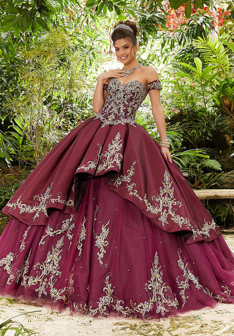 Morilee 89241 Off Shoulder Sleeves Crystal Beading Ball Gown