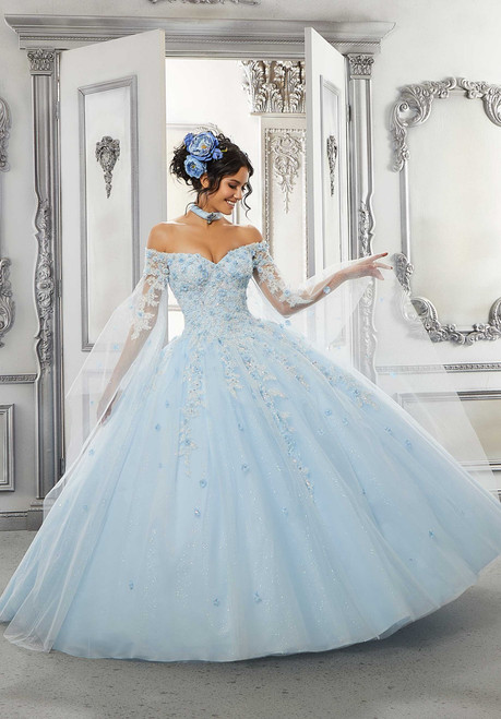 Morilee 60143 Beaded Lace Sparkle Tulle Quinceanera Ballgown
