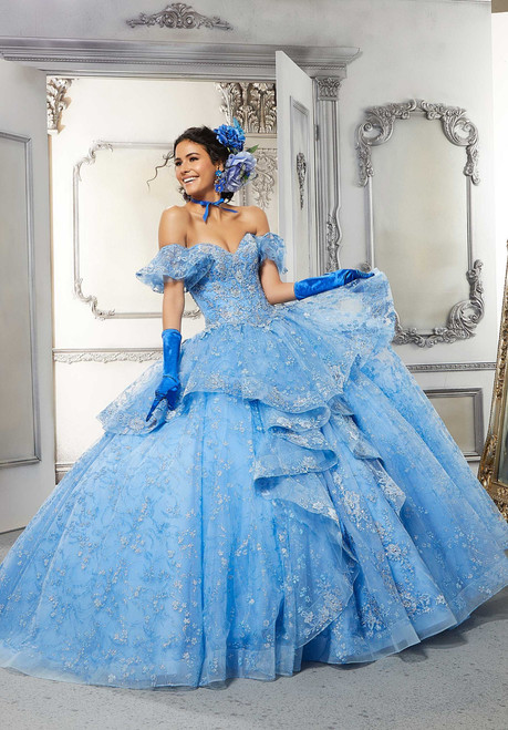 Morilee 34051 Crystal Beaded Flounced Quinceanera Ballgown