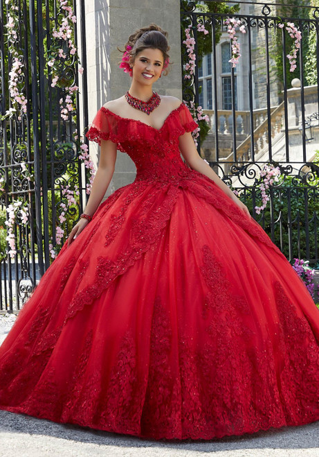 Morilee 34025 Princess Tulle Glitter Tulle Quinceanera Ballgown