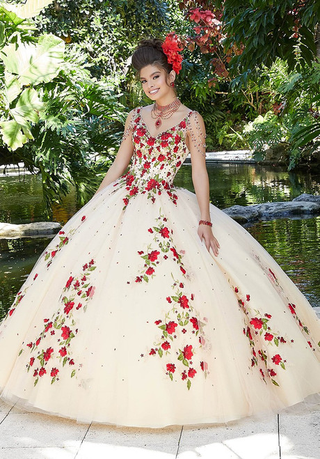 Morilee 34016 Crystal Beaded Contrasting Embroidery Ballgown