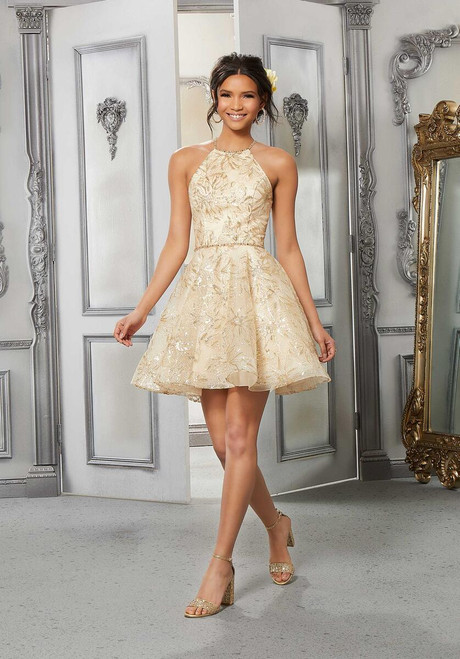 Morilee 9571 Embroidered Tulle Shimmering Damas Party Dress