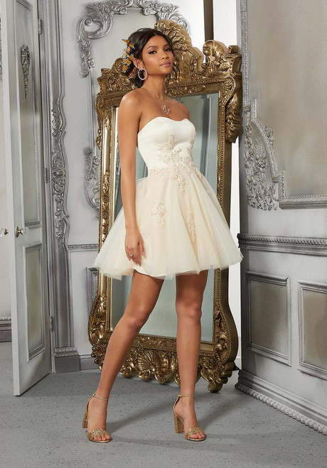 Morilee 9575 Satin Sweetheart Bodice Tulle Damas Party Dress