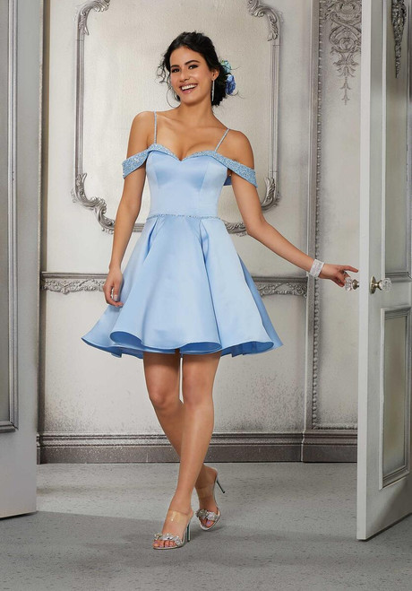 Morilee 9578 Chic Satin Beaded Cold-Shoulder Damas Party Dress
