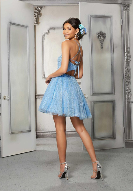 Morilee 9579 Beaded Trim Patterned Glitter Damas Party Dress