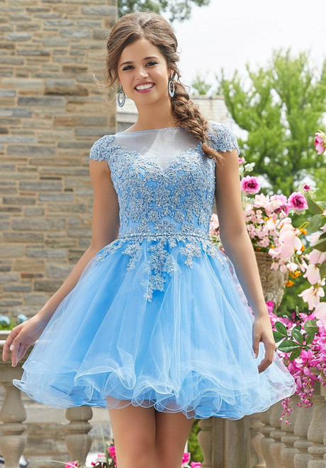 Morilee 9533 Crystal Beaded Lace Trim Damas Party Dress