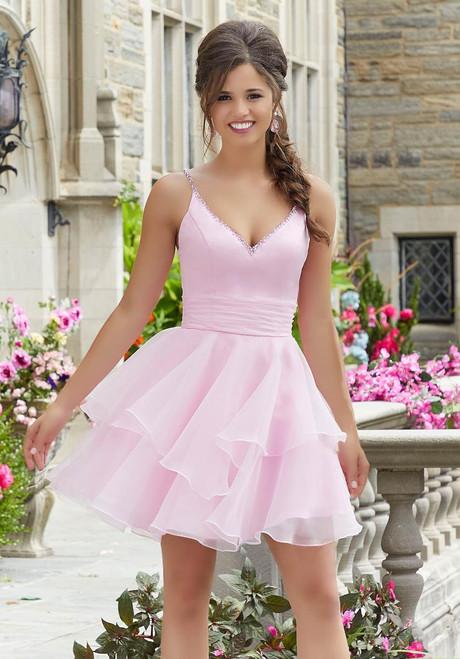 Morilee 9532 Crystal Beaded Straps Damas Flirty Party Dress