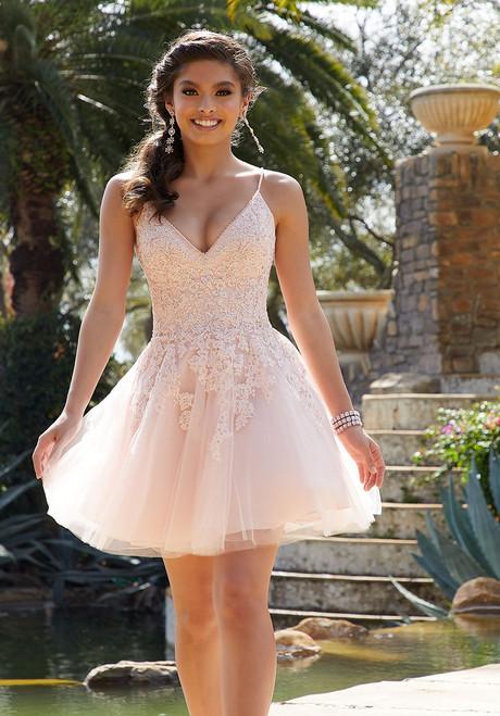 Morilee 9515 Crystal Beading Lace Appliques Damas Short Dress