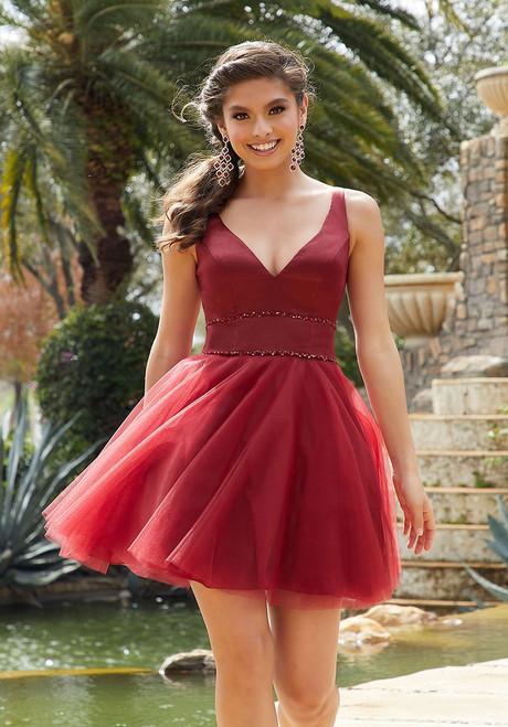 Morilee 9519 Satin Tulle Beaded Waist Trim Damas Short Dress
