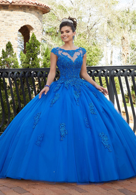 Morilee 60092 Crystal Beaded Illusion Neckline Tulle Ballgown