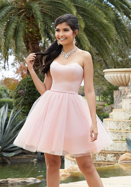 Morilee 9516 Satin and Tulle Damas Short Quinceanera Dress