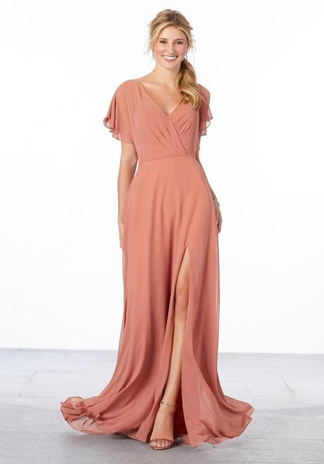 Morilee Bridesmaids 21667 V-back Flowing A-line Chiffon Dress