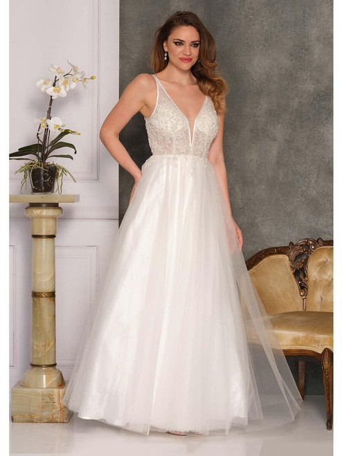 Dave and Johnny A10347 Beaded Bodice Tulle Skirt Gown
