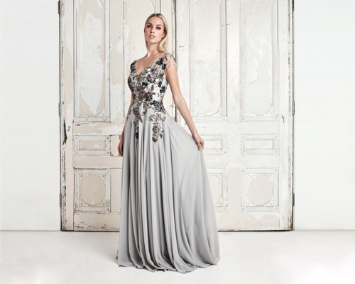 Alexander by Daymor 758 Floral Embroidered V-neck Dress