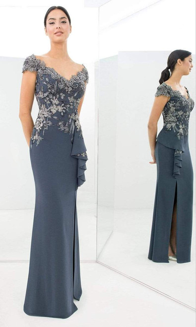 Alexander by Daymor 1392 Wide V Neck Embroidered Gown