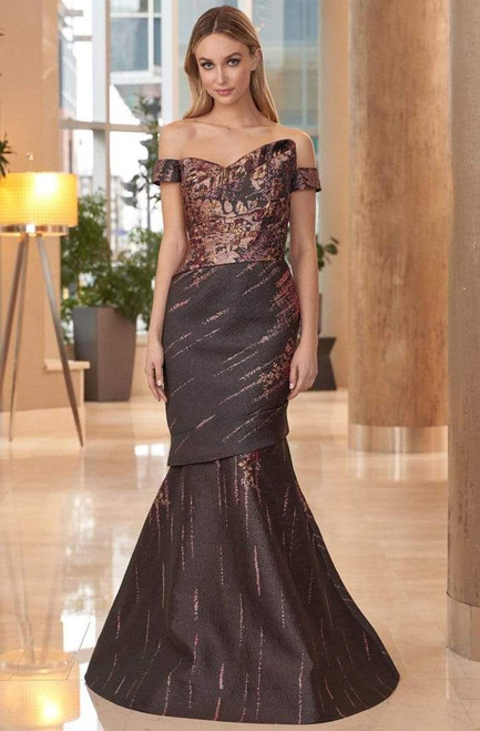 Alexander by Daymor 1054B Off-shoulder Fitted Bodice Gown