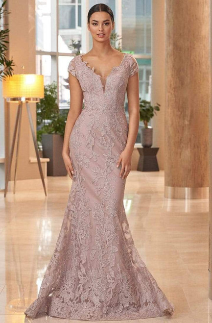 Alexander by Daymor 1066 Embroidered Cap Sleeves Long Gown