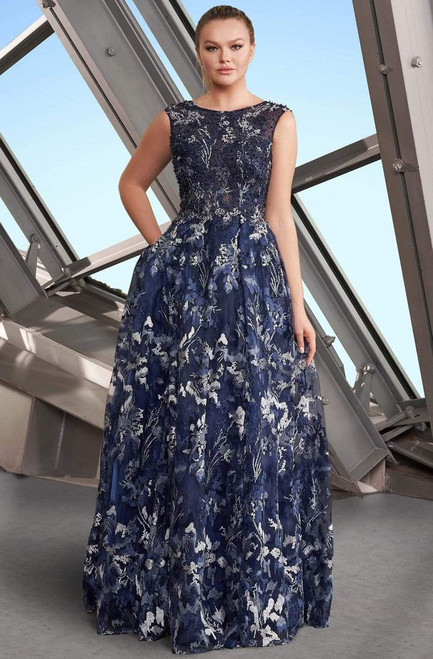 Alexander by Daymor 1153 Sleeveless Embroidered Bateau Gown