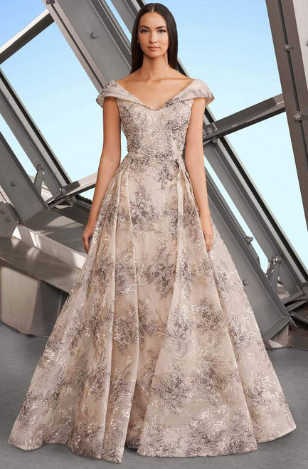 Alexander by Daymor 1167 Embroidered Wide V-neck Gown