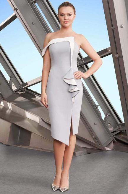 Alexander by Daymor 1179 Two Tone Asymmetric Sheath Dress