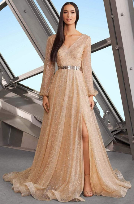 Alexander By Daymor 1182 V-neck Long Sleeves Long Gown