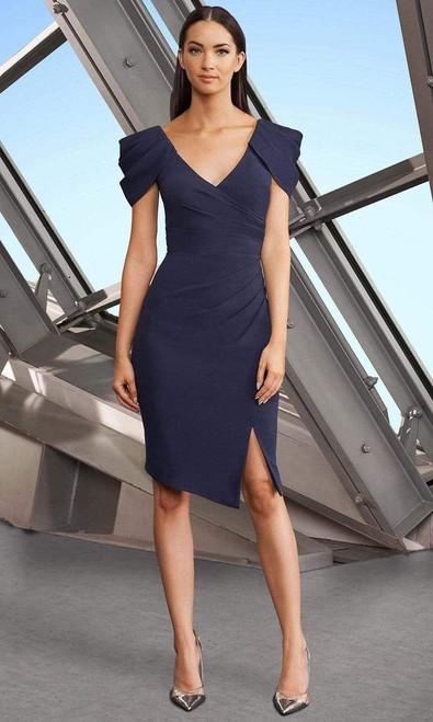 Alexander by Daymor 1184 Ruched V-neck Knee-Length Dress