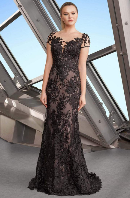 Alexander by Daymor 1189 Short Sleeve Floral Lace Gown