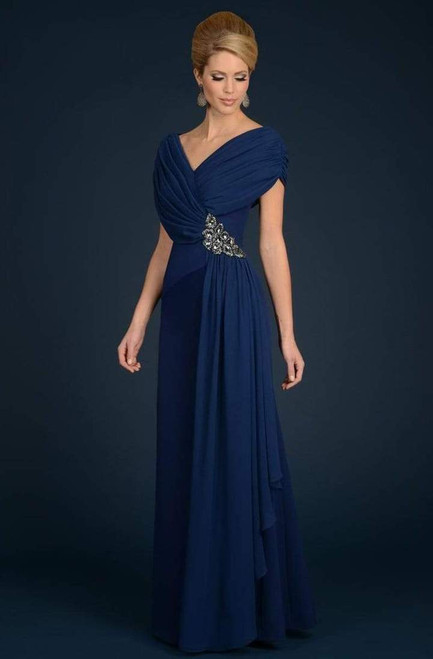 Alexander by Daymor 70102 Ruched V Neck Short Sleeves Gown