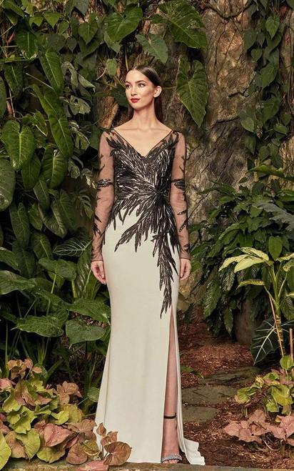 Alexander by Daymor 960 Sheer Long Sleeves V Neck Gown