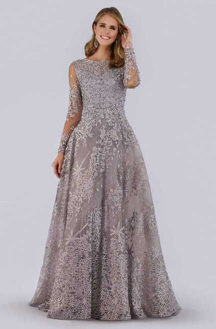 Lara Design 29759 Beaded Illusion Long Sleeve A-Line Gown