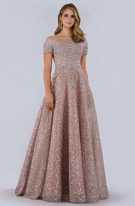 Lara Design 29765 Short Sleeve Bead Embroidered Gown