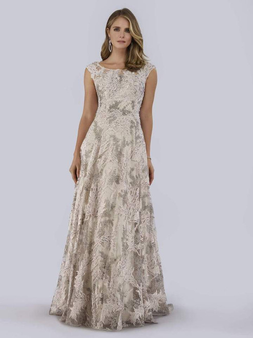 Lara Design 29766 Embroidered Bateau Cap Sleeves Gown