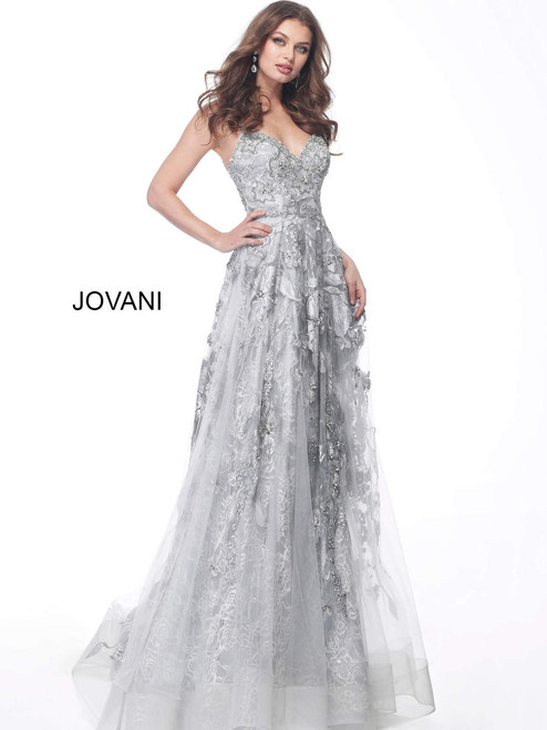 Jovani 62405 Sleeveless Embroidered Plunging V-neck Gown