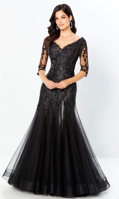 Montage by Mon Cheri 220936 Sheer Quarter Sleeves Long Dress